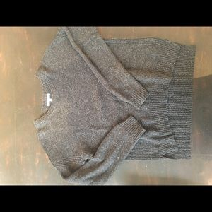 Charcoal gray Madewell sweater.